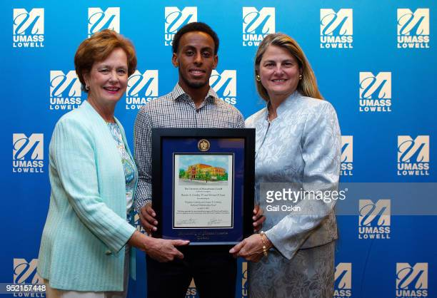 Jacqueline Moloney scholarship recipient Abdi ShariffHassan and previous UMass Lowell Alumni Award Honoree Bonnie Comley attend the Honorary Alumni...