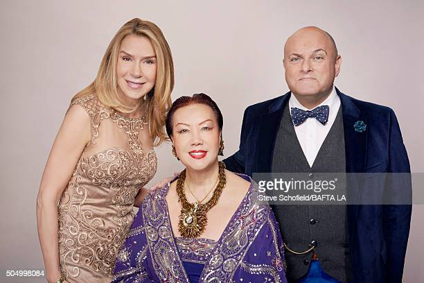 Jacqueline Murphy Fashion designer Sue Wong and BAFTA Board Chairman Nigel Daly pose for a portrait at the BAFTA Los Angeles Awards Season Tea at the...
