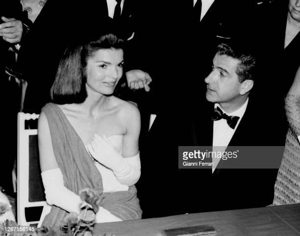 """Jacqueline Onassis with Alfonso Diaz Carabantes, husband of the Duchesse of Alba, at the Festival of Debutants in the """"Casa de Pilatos"""" Seville,..."""