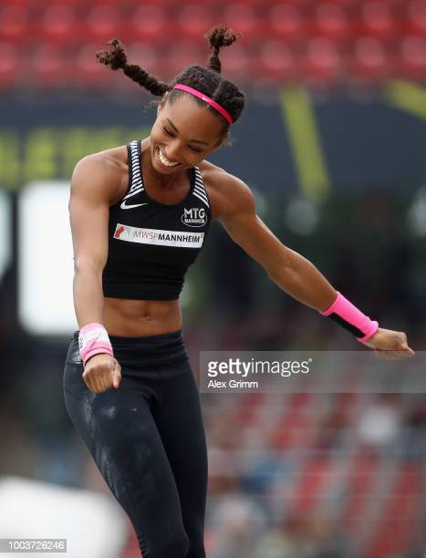 Jacqueline Otchere of MTG Mannheim celebrates during the women's pole vault final on day 3 of the German Athletics Championships at...