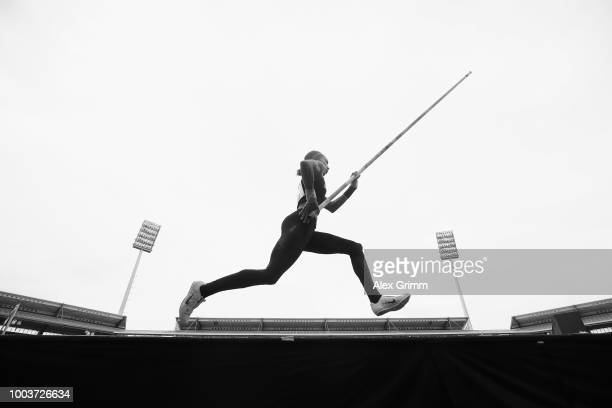 Jacqueline Otchere of MTG Mannheim competes in the women's pole vault final on day 3 of the German Athletics Championships at Max-Morlock-Stadion on...