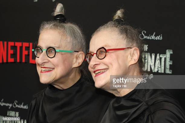 Jacqueline Robbins and Joyce Robbins attend the the Season 2 premiere of Netflix's 'A Series Of Unfortunate Events' at Metrograph on March 29 2018 in...