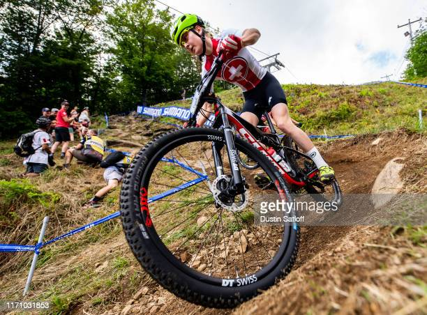 Jacqueline Schneebeli of Switzerland competes during the Women Junior Cross-country Olympic distance race at the UCI Mountain Bike World...