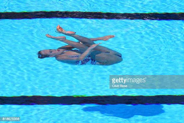 Jacqueline Simoneau of Canada competes during the Synchronised Swimming Solo Free Final on day six of the Budapest 2017 FINA World Championships on...