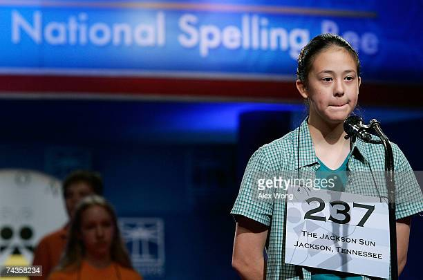 Jacqueline Tang of Jackson Tennessee reacts as she participates in the 2007 Scripps National Spelling Bee May 30 2007 in Washington DC Tang didn't...