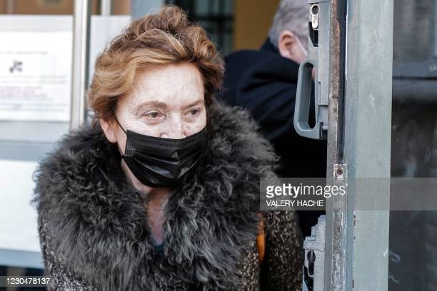 Jacqueline Veyrac, hotel heiress, leaves the courthouse in the southern French city of Nice following a morning hearing on January 8 where 13 people...