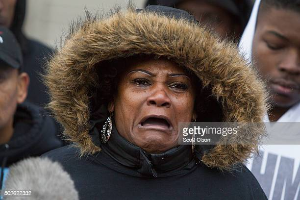 Jacqueline Walker speaks to the press about the death of her friend 55yearold Bettie Jones on December 27 2015 in Chicago Illinois Jones was shot and...