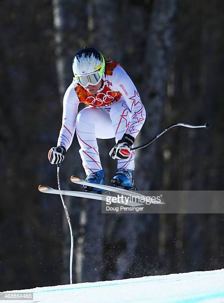 Jacqueline Wiles of the United States skis during the Alpine Skiing Women's Downhill on day 5 of the Sochi 2014 Winter Olympics at Rosa Khutor Alpine...
