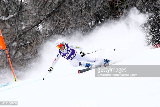 Jacqueline Wiles of the USA competes during the Audi FIS Alpine Ski World Cup Women's Downhill Training on February 18 2016 in La Thuile Italy