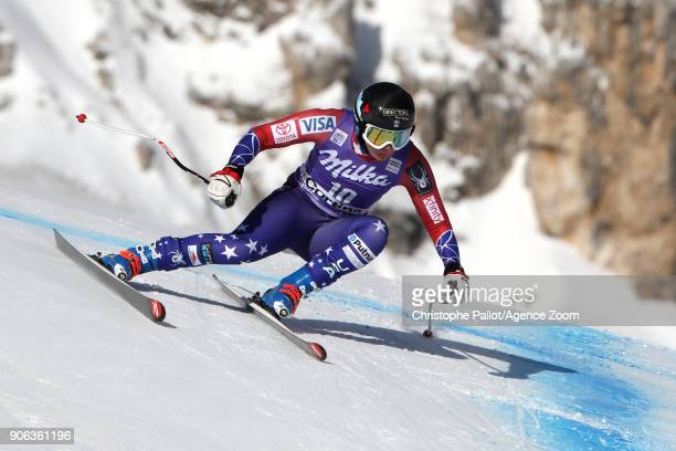 Jacqueline Wiles of USA in action during the Audi FIS Alpine Ski World Cup Women's Downhill Training on January 18 2018 in Cortina d'Ampezzo Italy