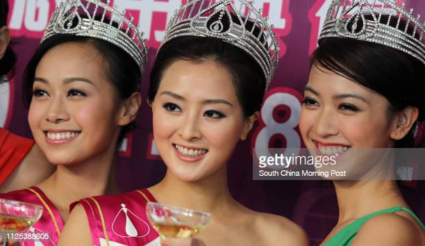 Jacqueline Wong first runner up of Miss Hong Kong Carat Cheung Miss Hong Kong and Tracy Chu second runner up of Miss Hong Kong attend the opening of...
