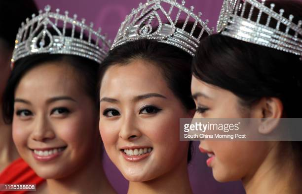Jacqueline Wong first runner up of Miss Hong Kong Carat Cheung Miss Hong Kong and Tracy Chu second runner up of Miss Hong Kong attend the opening of...