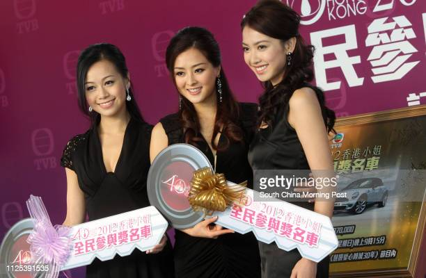 Jacqueline Wong first runner up of Miss Hong Kong Carat Cheung Miss Hong Kong and Tracy Chu second runner up of Miss Hong Kong attenda press...