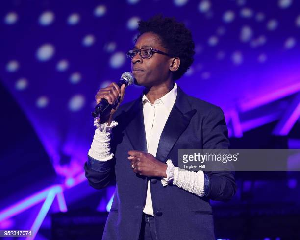 Jacqueline Woodson speaks during The Concert for Peace and Justice celebrating the opening of The Legacy Museum at Riverwalk Amphitheater on April...