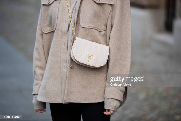 Jacqueline Zelwis is seen wearing Arket jacket in beige Calvin Klein jeans Bally bag on November 27 2020 in Berlin Germany