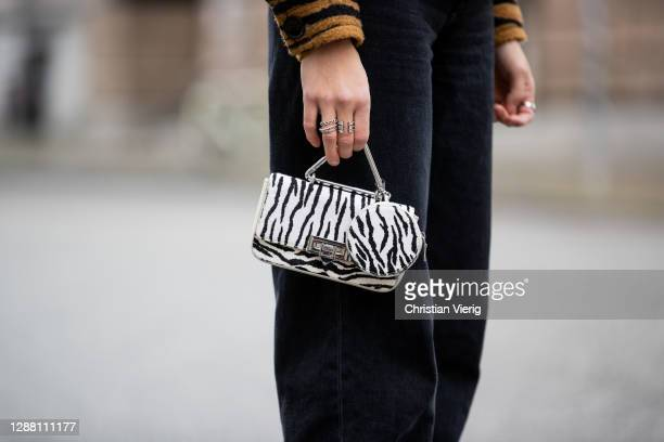 Jacqueline Zelwis is seen wearing jacket with animal print Lala Berlin Levis denim jeans Weat bag with zebra print on November 27 2020 in Berlin...