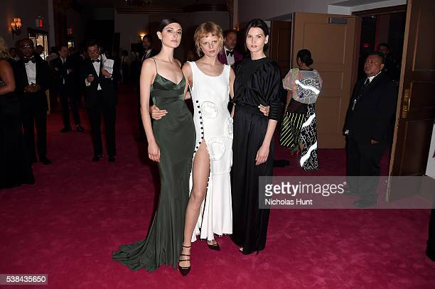 Jacquelyn Jablonski and Hanne Gaby Odiele attend the 2016 CFDA Fashion Awards at the Hammerstein Ballroom on June 6, 2016 in New York City.