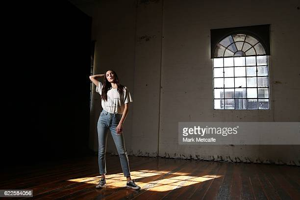 Jacquelyn Jablonski poses backstage ahead of the the Faith Connection Runway Show for MADE Sydney at Carriageworks on November 12 2016 in Sydney...