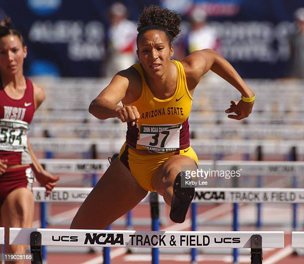 Jacquelyn Johnson wins heptathlon 100meter hurdle heat in 1334 for the top mark in the NCAA Track Field Championships at Sacramento State's Hornet...