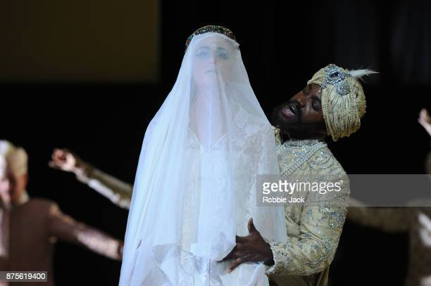 Jacquelyn Stucker as Azema and Lawrence Brownlee as Idreno in the Royal Opera's production of Gioachino Rossini's Semiramide directed by David Alden...