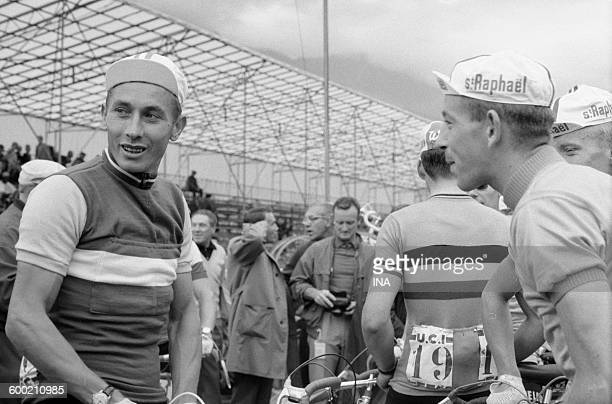 Jacques Anquetil and another racing cyclist during the World championships of cycling on road in Sallanches.
