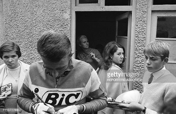 Jacques Anquetil his wife Jeanine and daughter Annie in France on October 03 1967