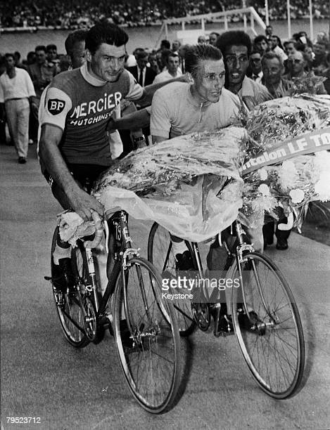 Jacques Anquetil who won the 1964 Tour de France for the fifth time with runnerup Raymond Poulidor 15th July 1964