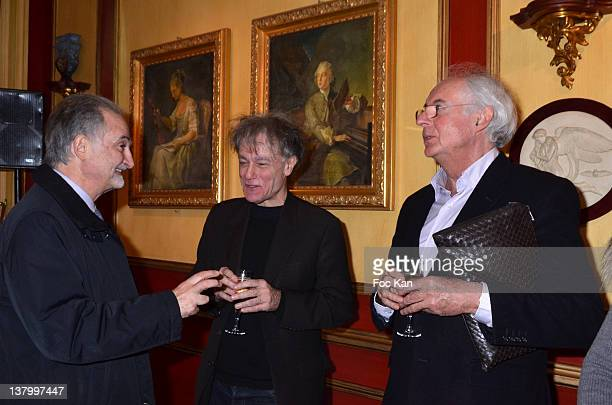 Jacques Attali Procope 2012 award recipient writer Ruwen Ogien and Roger Pol Droit attend the Procope Des Lumieres' Literary Awards First Edition at...
