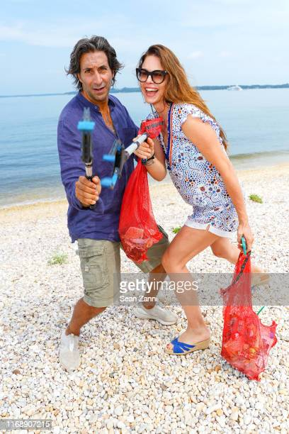 Jacques Azoulay and Paige Boller attend the Nicole Miller Walk N' Rosé Event With Group For The East End on August 18 2019 in Sag Harbor New York