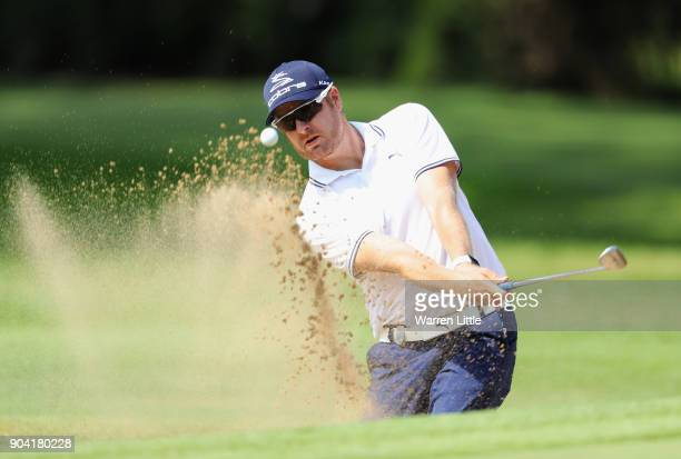 Jacques Blaauw of South Africa plays from a bunker on the 15th hole during day two of the BMW South African Open Championship at Glendower Golf Club...