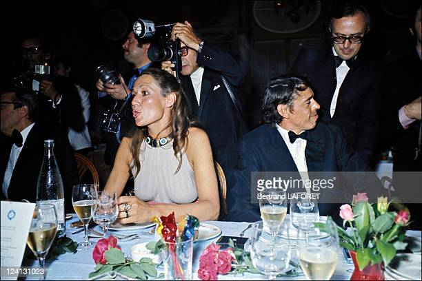 Jacques Brel at the Cannes film festival in Cannes France in May 1972 Simone Juergens and Jacques Brel