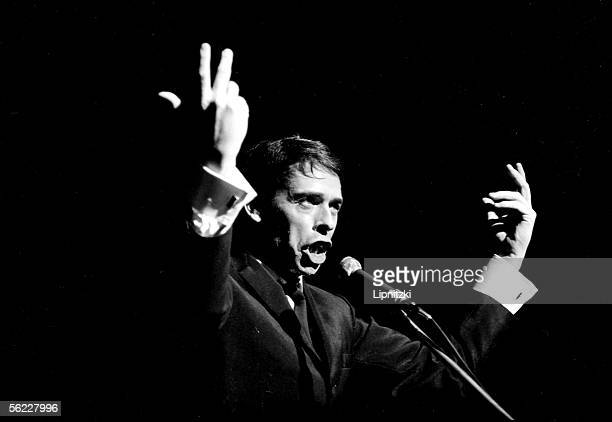 Jacques Brel composersongwriter and Belgian singer in the theater of Aubervilliers in 1967