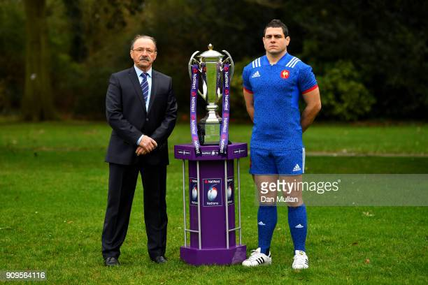 Jacques Brunel Head Coach of France and Guilhem Guirado of France pose with the trophy during the 6 Nations Launch event at the Hitlon on January 24...