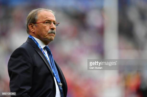 Jacques Brunel Head coach of France looks on prior to the NatWest Six Nations match between France and England at Stade de France on March 10 2018 in...