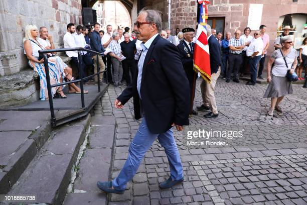 Jacques Brunel is seen at the burial of Pierre Camou in Saint Jean Pied de Port during the Funeral of former rugby player Pierre Camou on August 18...