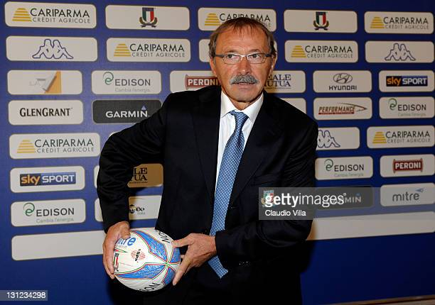 Jacques Brunel poses as the Italian Rugby Federation unveils him as its new coach on November 3 2011 in Bologna Italy
