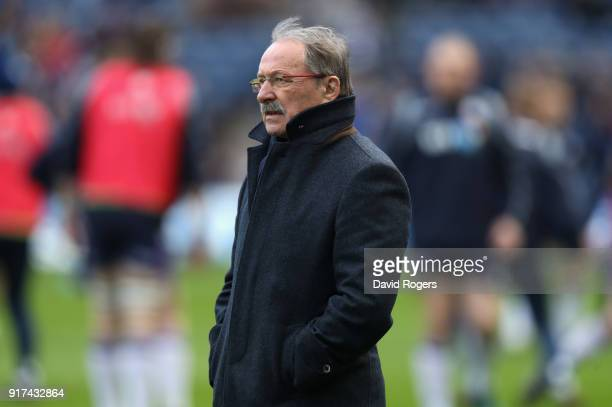 Jacques Brunel the France head coach looks on during the Six Nations match between Scotland and France at Murrayfield on February 11 2018 in...