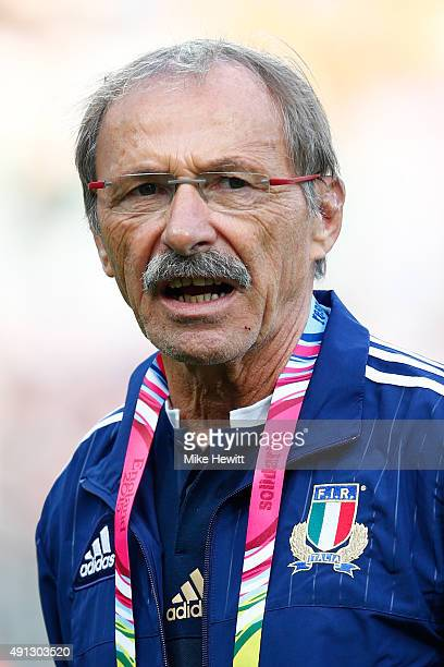 Jacques Brunel the headccoach of Italy looks on during the 2015 Rugby World Cup Pool D match between Ireland and Italy at the Olympic Stadium on...
