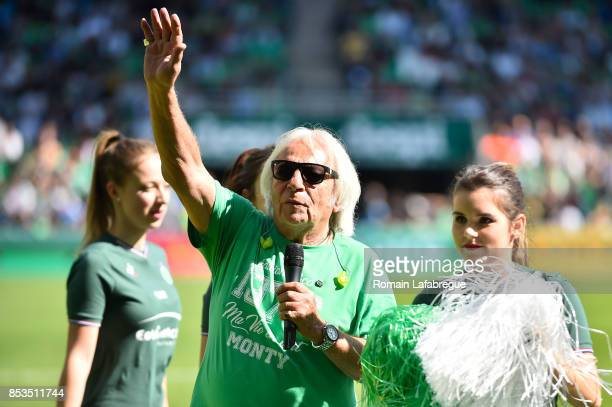 Jacques Bulletin singer of Allez les Verts during the Ligue 1 match between AS Saint Etienne and Stade Rennais at Stade Geoffroy Guichard on...