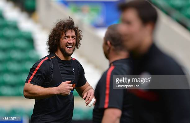 Jacques Burger laughing during Saracens Captain's Run at Twickenham Stadium on April 24 2014 in London England