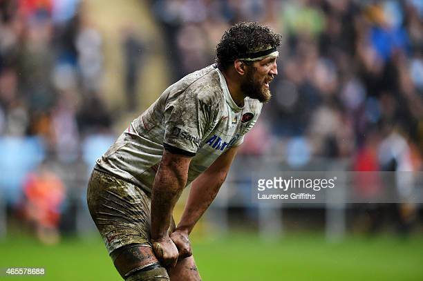 Jacques Burger of Saracens looks on during the Aviva Premiership match between Wasps and Saracens at The Ricoh Arena on March 8 2015 in Coventry...