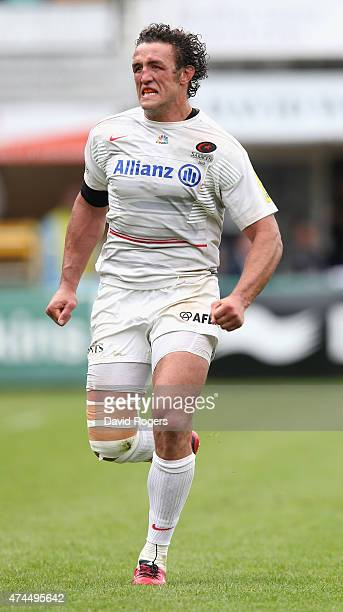Jacques Burger of Saracens looks on during the Aviva Premiership play off semi final match between Northampton Saints and Saracens at Franklin's...