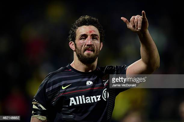 Jacques Burger of Saracens salutes the travelling fans following the European Rugby Champions Cup Pool 1 match between Clermont Auvergne and Saracens...