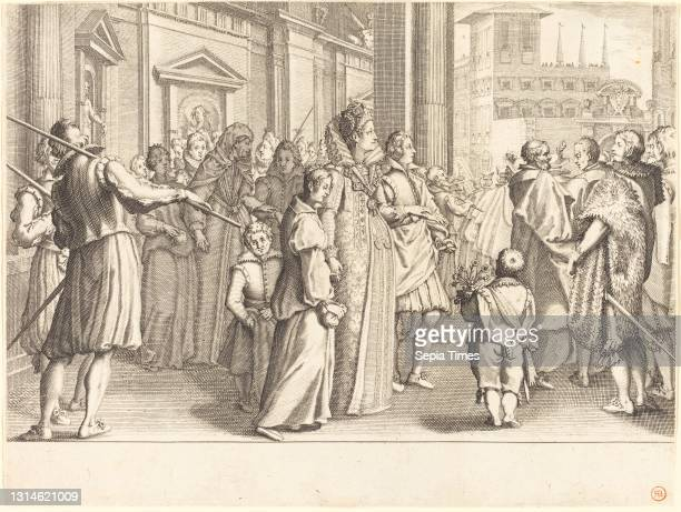 Jacques Callot, , French, 1592 - 1635, Grand Duchess at the Procession of the Young Girls, The Life of Ferdinando de'Medici, , c. 1614, engraving.