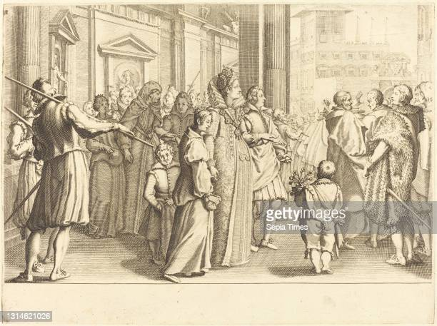 Jacques Callot, , French, 1592 - 1635, Grand Duchess at the Procession of the Young Girls, The Life of Ferdinando de'Medici, , c. 1614, engraving on...