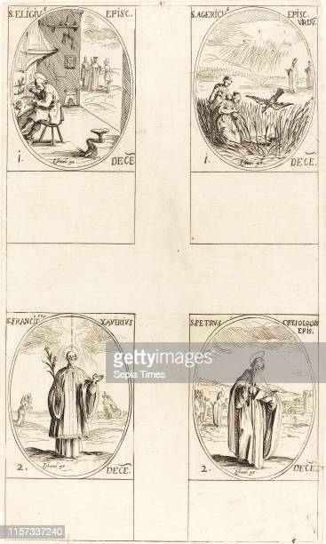 Jacques Callot St Eligius St Agericus St Francis Xavier St Peter Chrysologus etching