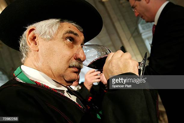 Jacques Capsouto samples this season's Beaujolais Nouveau at an uncorking gathering for the French wine November 16 2006 in New York City While the...