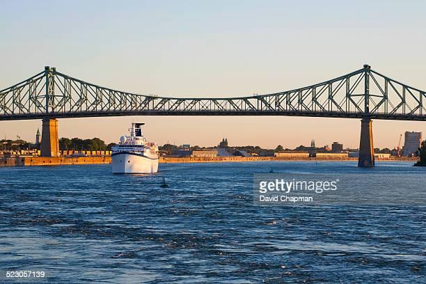 Jacques Cartier Bridge and Ocean liner cruise ship, Montreal, Quebec, Canada