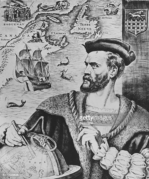 Jacques Cartier French sailor and explorer. After a painting by P. Gandon.