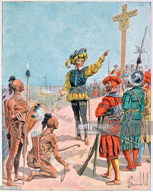 Jacques Cartier takes possession of the Bay of Gaspe, Canada, 1534 . Jacques Cartier was a French navigator who first explored and described the Gulf...